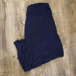Bella Luxx Navy Asymmetrical Stripe Maxi Skirt